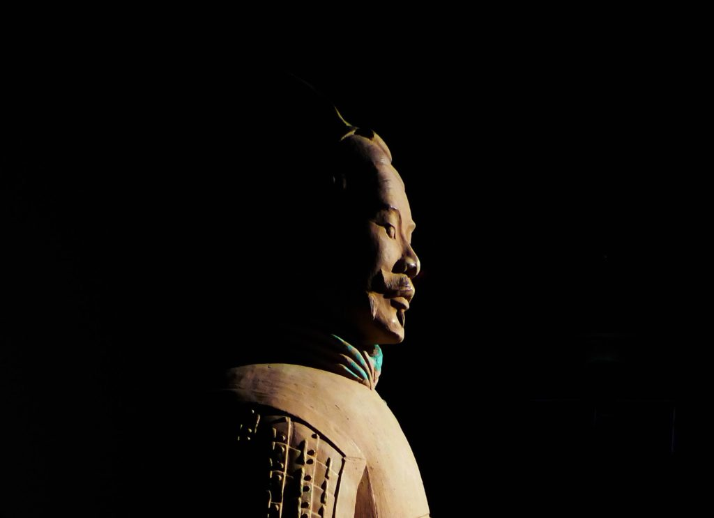 Terracotta Warrior Side View on Dark Background
