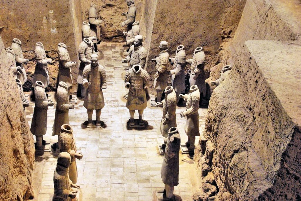 The Terracotta Army warriors standing behind horses in Pit 2.
