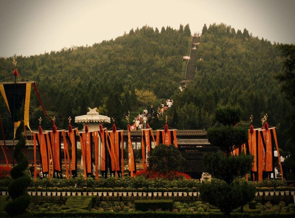 The Mausoleum of the First Qin Emperor (Qin Shi Huang), Lintong District, Xi'an, Shaanxi, China.