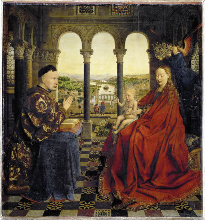 Jan Van Eyck, Madonna of Chancellor Rolin, 1435, The Louvre. Nicholas Rolin was the Chancellor of the Duke of Burgundy from 1422-1457.