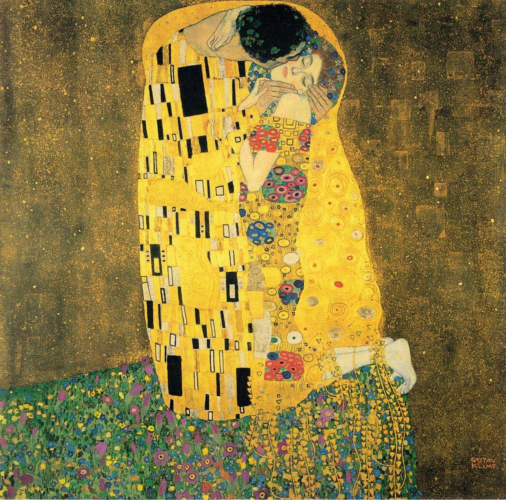 Gustav Klimt, The Kiss, 1908, Belvedere, Vienna, Austria.