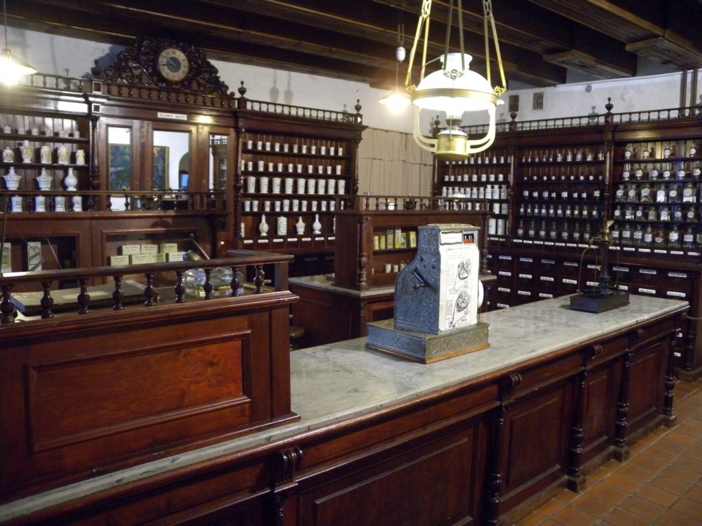 The pharmacist shopfront in Museum of the History of Lithuanian Medicine and Pharmacy
