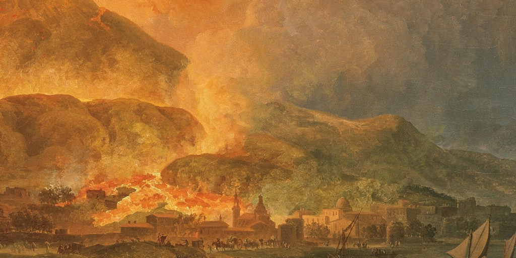 Pierre-Jacques Volaire, Eruption of Mount Vesuvius, 1777, North Carolina Museum of Art, Raleigh. Enlarged Detail of Burning Town.