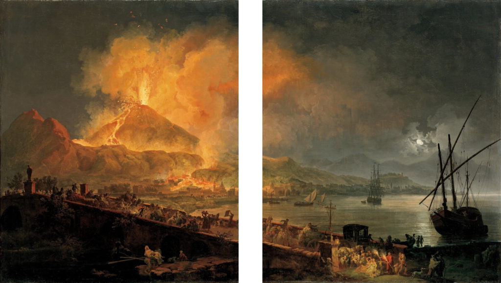 Pierre-Jacques Volaire, Eruption of Mount Vesuvius, 1777, North Carolina Museum of Art, Raleigh. Split Composition.