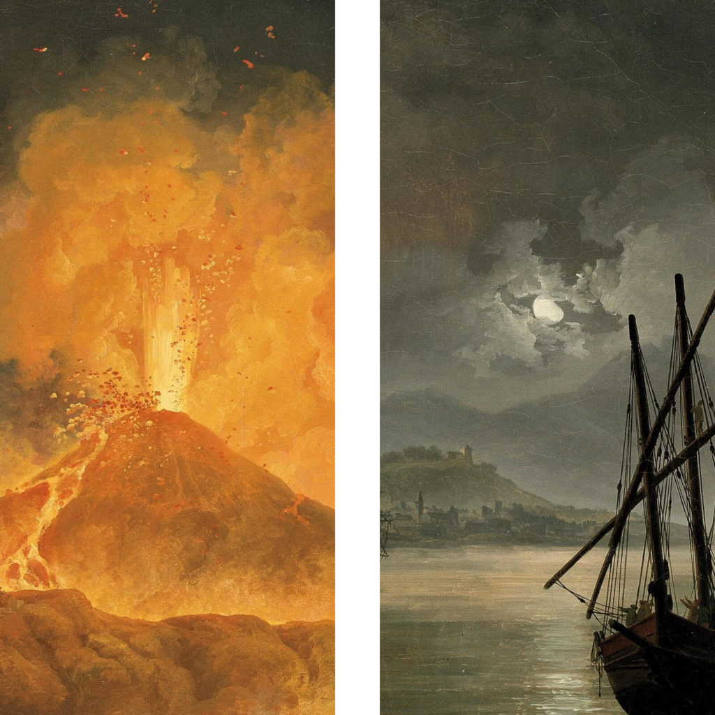 Pierre-Jacques Volaire, Eruption of Mount Vesuvius, 1777, North Carolina Museum of Art, Raleigh. Enlarged Details of Volcano and Moon.