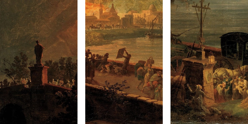 Pierre-Jacques Volaire, Eruption of Mount Vesuvius, 1777, North Carolina Museum of Art, Raleigh. Enlarged Details of Three Images of Saint Januarius.