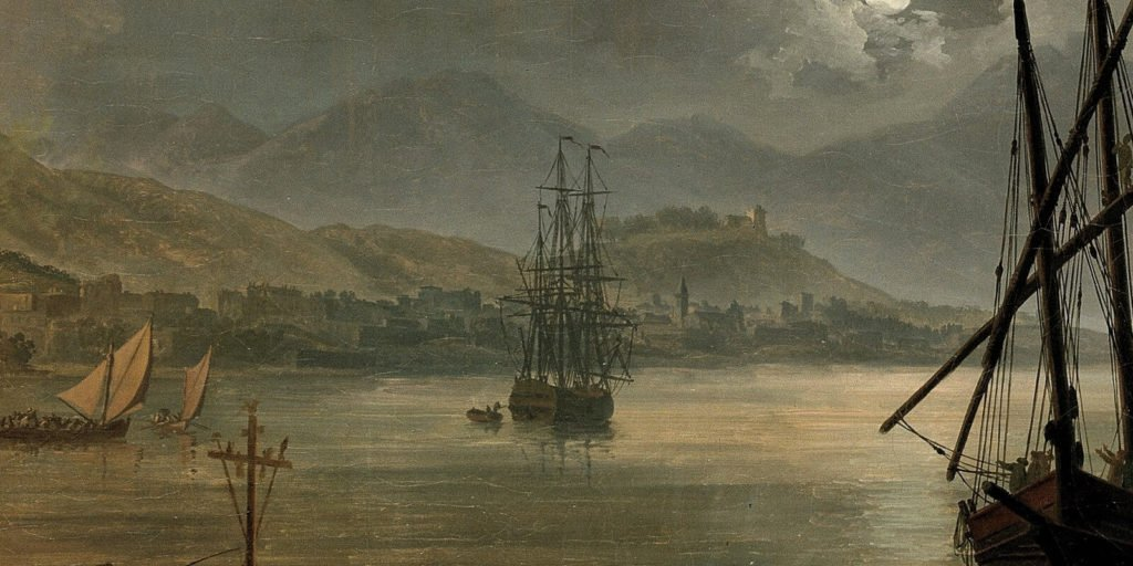 Pierre-Jacques Volaire, Eruption of Mount Vesuvius, 1777, North Carolina Museum of Art, Raleigh. Enlarged Detail of Harbour.