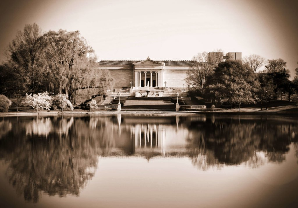 The The Cleveland Museum of Art across Wade Lagoon.