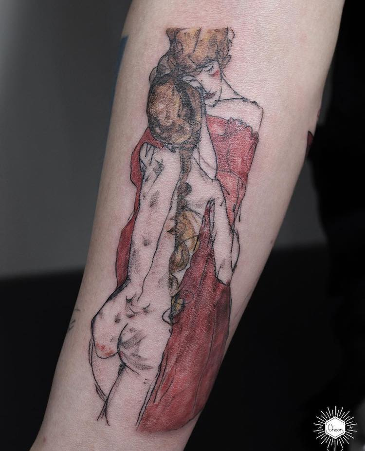 Eheon, Mother and aughter by Egon Schiele, @eheon_art, Artsy Tattoos, Art Inspired Tattoos