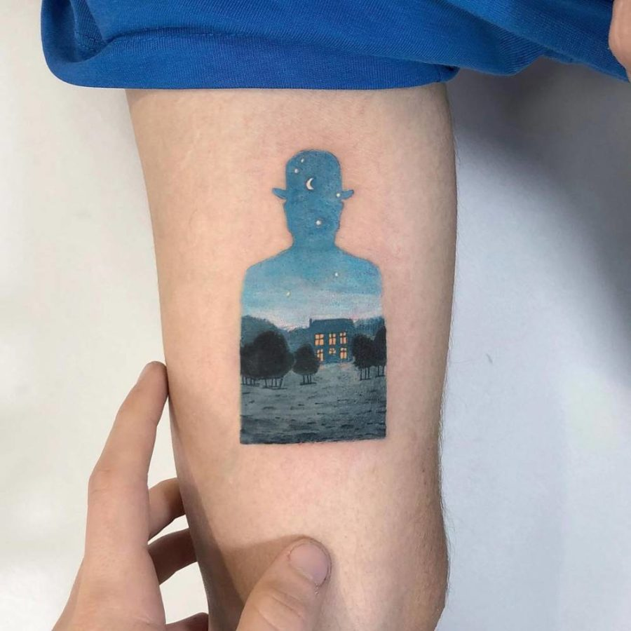 Kozo Tattoo, The Happy Donor by Rene Magritte, @kozo_tattoo