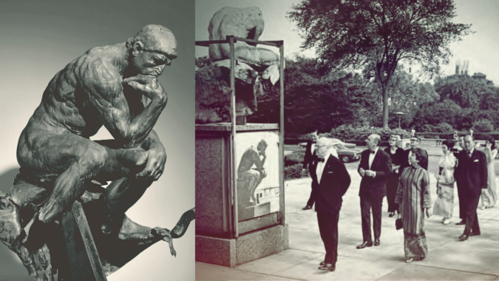 The statue of the Thinker with the lower legs destroyed on the left, the visitors outside of the Cleveland Museum of Art looking at the same statue.