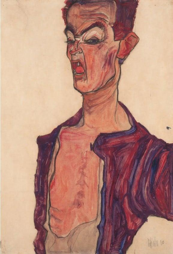 Egon Schiele painting self portrait