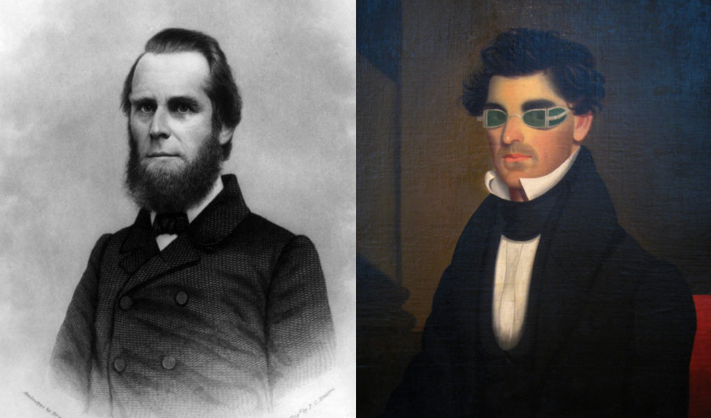 Jeptha Homer Wade I (left) and his color portrait of Nathaniel Olds (right), 1837, photo by Daderot.