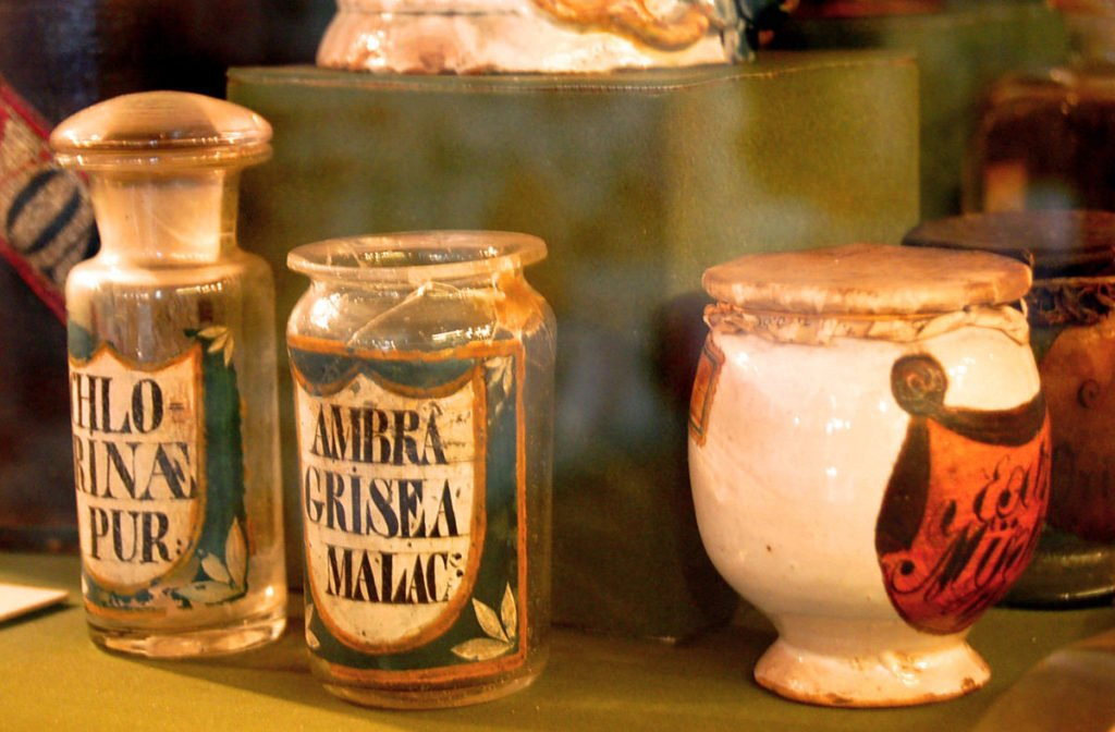 Apothecary jars in the Golden Eagle Pharmacy Museum