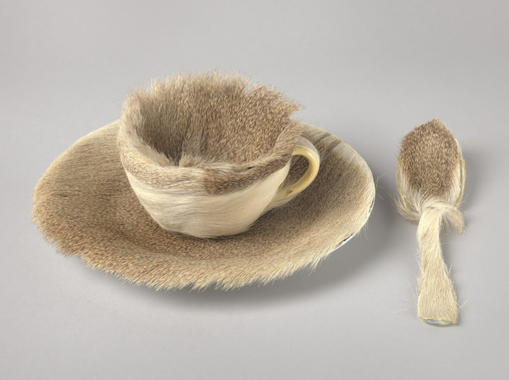 Méret Oppenheim, Object (Breakfast in Fur), 1936, cup, saucer and spoon covered in Chinese gazelle fur,  Museum of Modern Art, New York, USA.© 2019 Artists Rights Society (ARS), New York / Pro Litteris, Zurich.