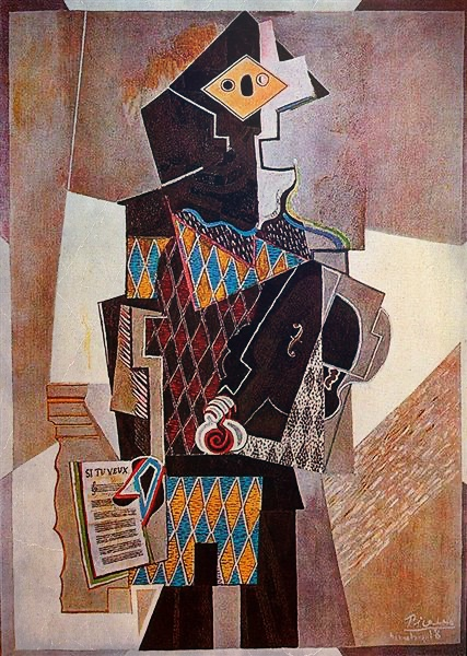 Picasso's composite artwork in the Cleveland Museum of Art, a collage depicting the man with a violin painted with colored rectangles and triangles.