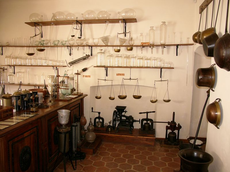 Chemist's laboratory in the pharmacy museum in Sibiu