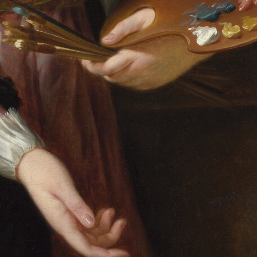 Élisabeth Louise Vigée Le Brun, Self Portrait in a Straw Hat, 1782, National Gallery, London. Enlarged Detail of Right Hand.