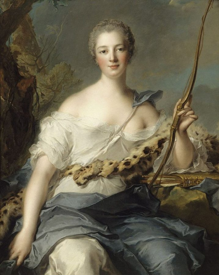 Rococo Women Beauty Guide: Jean-Marc Nattier, Portrait of madame de Pompadour as Diana, 1746.  Jeanne Poisson was clothed as Diana the Huntress when she met Louis XV for the first time.