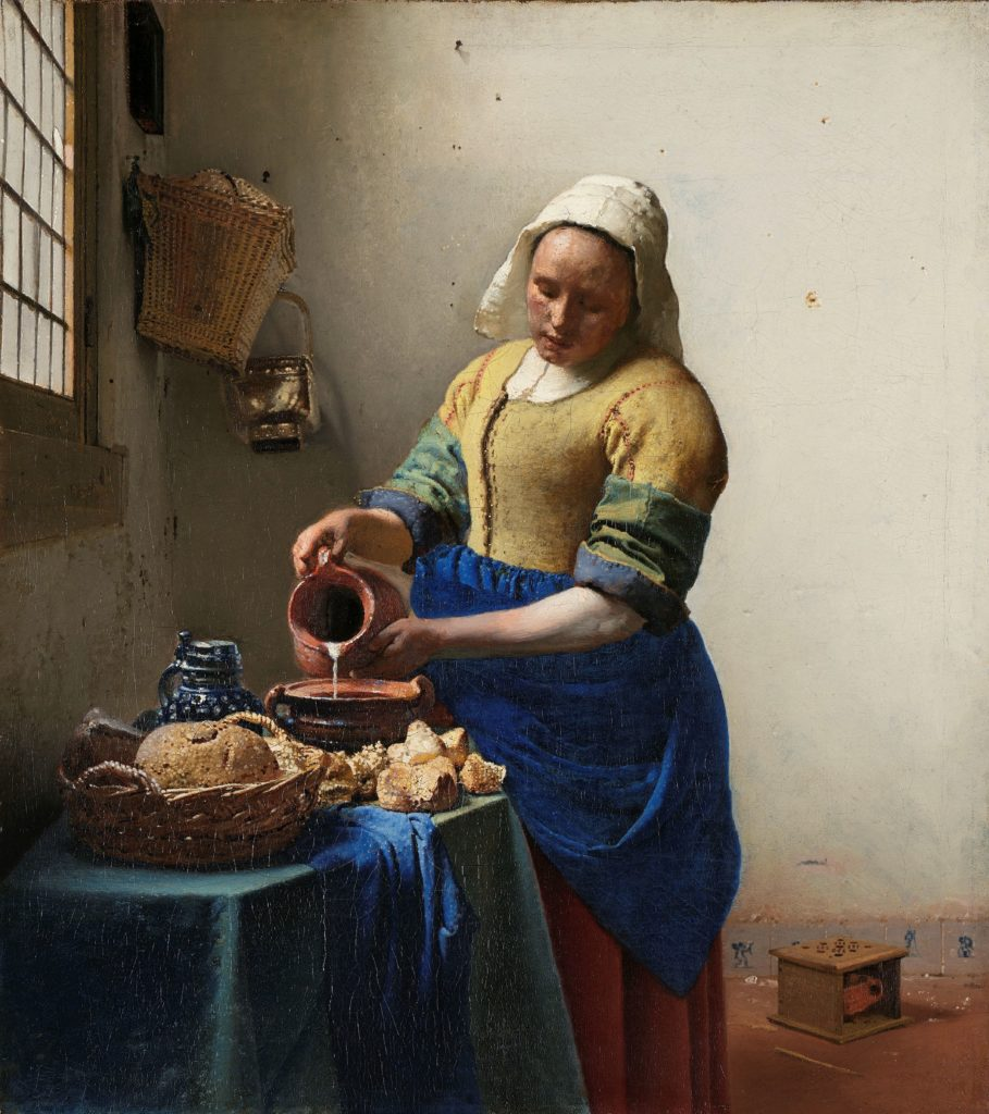 Johannes Vermeer, The Milkmaid, ca. 1660. Exhibited at the Rijksmuseum in Amsterdam, Netherlands, since 1908. Source: Rijksmuseum.