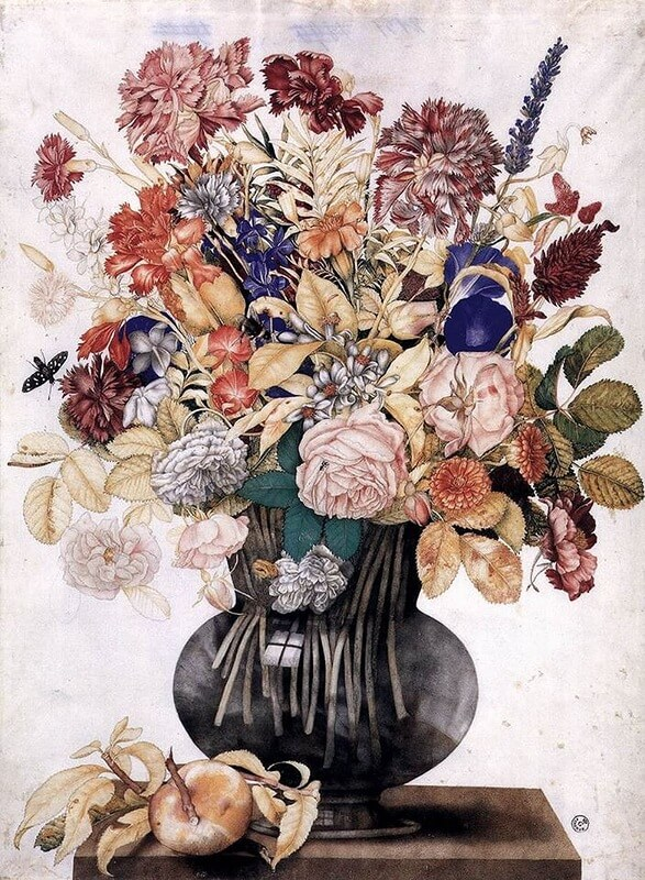 Vase with Flowers a Peach and a Butterfly by Giovanna Garzoni