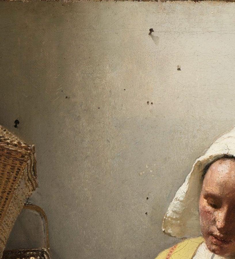 Johannes Vermeer, The Milkmaid, ca. 1660. Enlarged detail.  Source: Rijksmuseum.