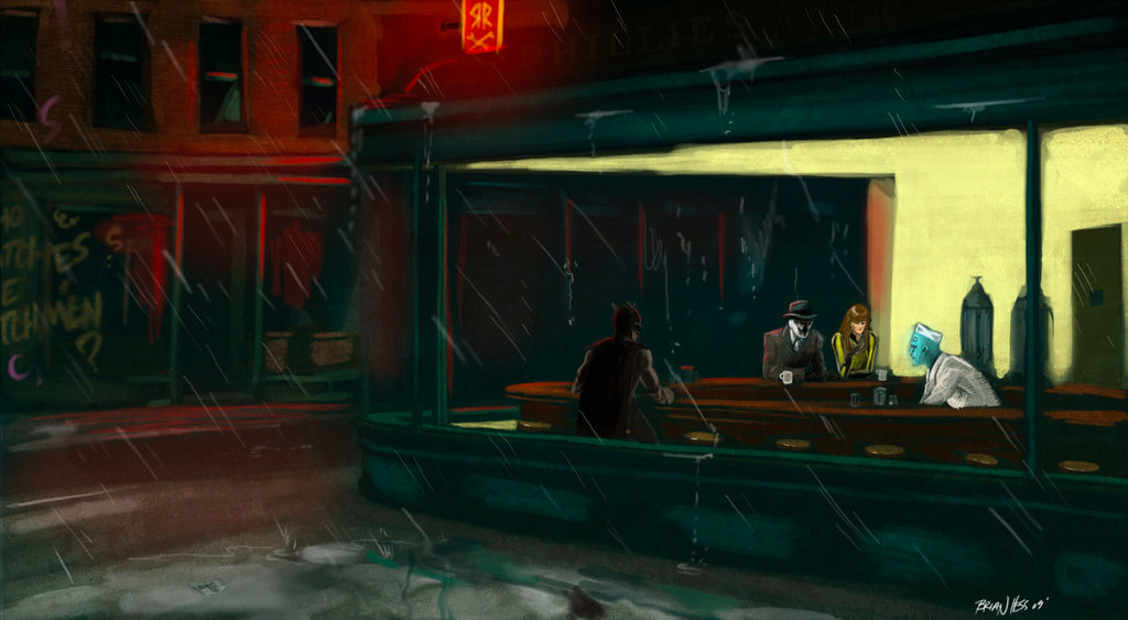 Edward Hopper's Nighthawks renditions with The Watchmen; Hesstoons, Night Watchmen. Hesstoons/Deviantart. memes