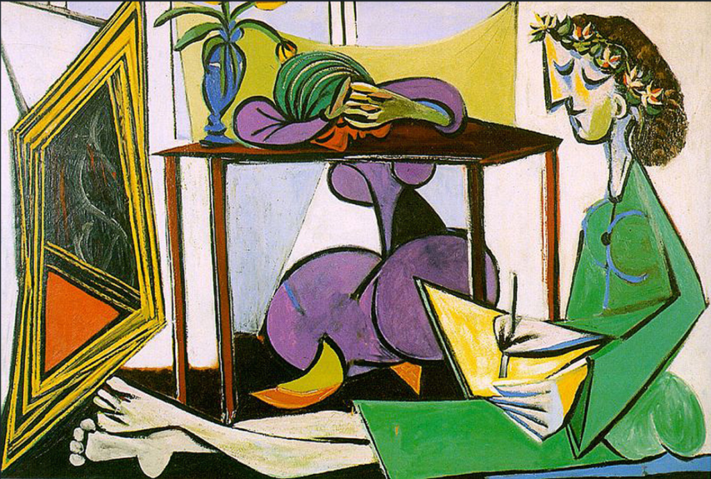 painting by Pablo Picasso, Interior with a Girl drawing ; Art Guide to Quarantine