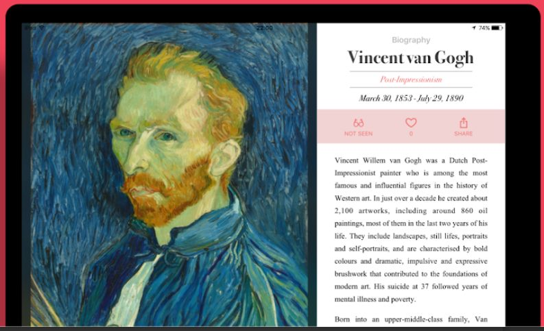 Screenshot from the DailyArt app on tablet, biography of Vincent van Gogh with description and portrait