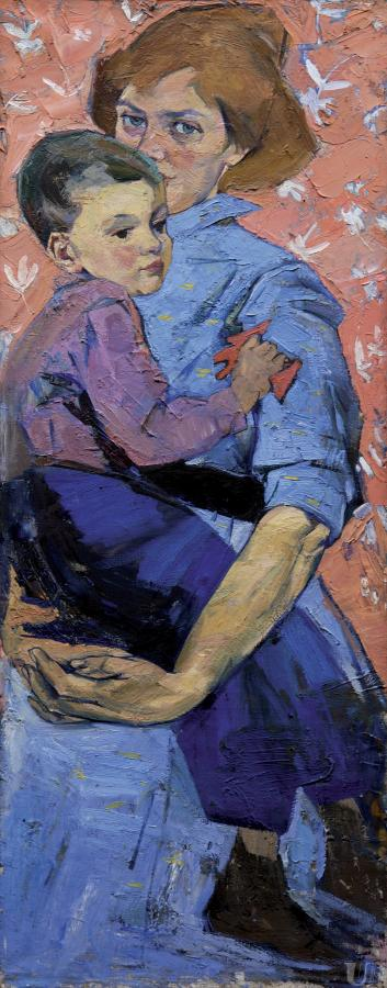"""The painting by Alla Horska, """"Self-portrait with a son"""". The artist potrayed herself with a son in her arms."""