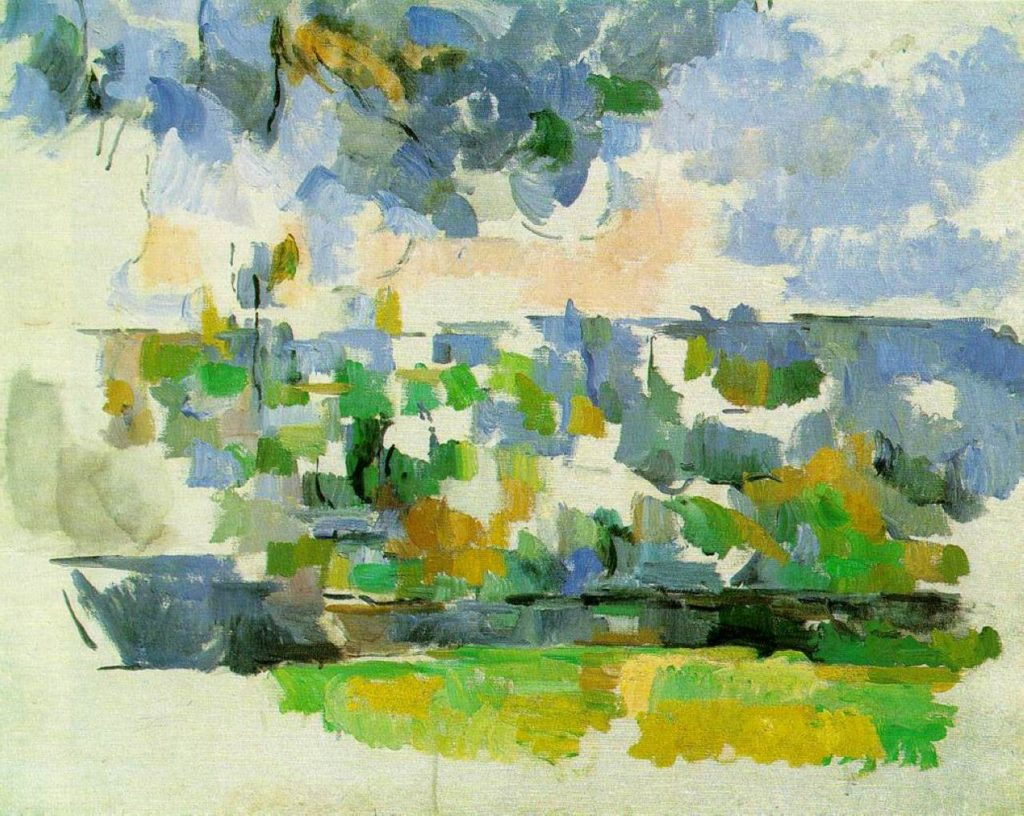 Cezanne painted his beautiful garden in Provence, France in 1906 in the style of Abstractionism.