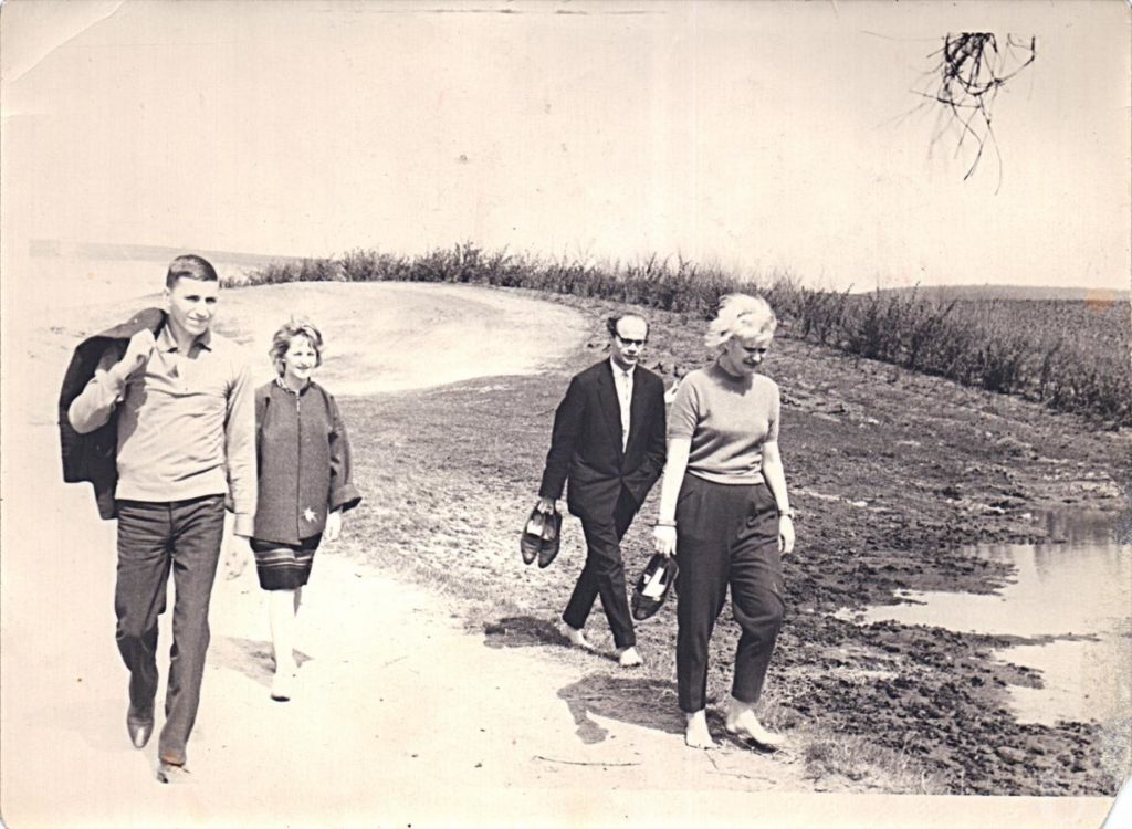 """The photo of Alla Horska and other three members of """"The Contemporary"""" 1963."""