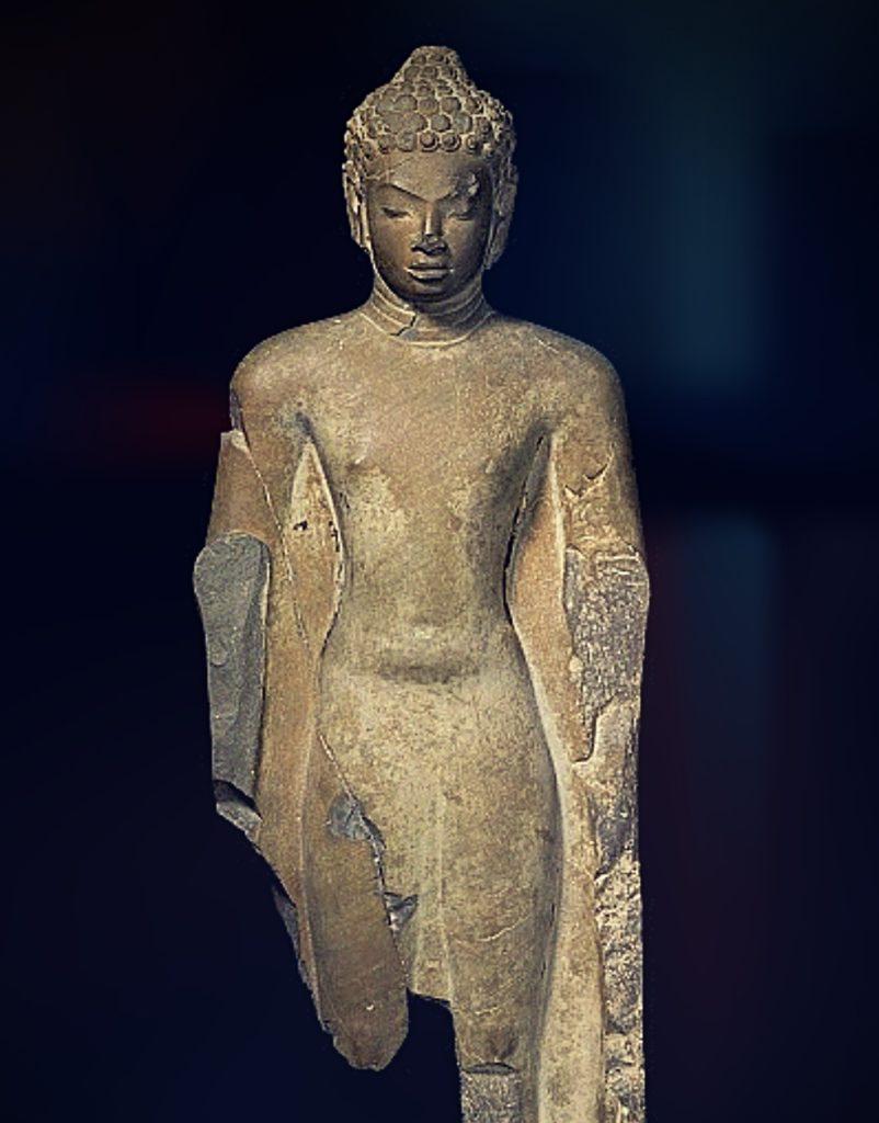 stone sculpture of a standing male deity bodhisattva avalokiteshvara
