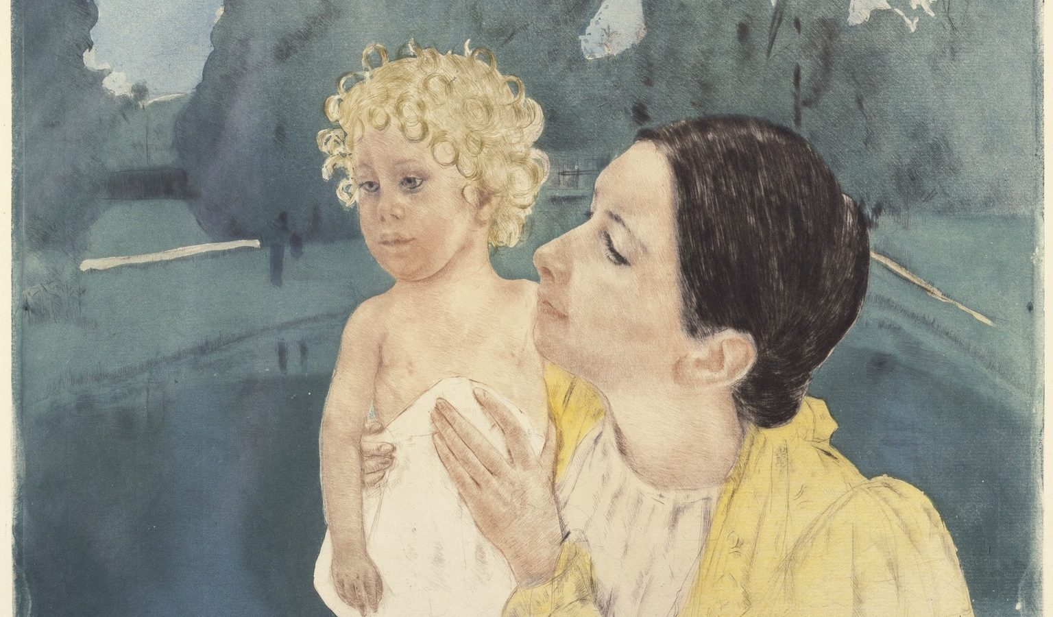 Painting of a mother holding her child in front of a pool. The child looks away while the mother gazes lovingly at him.