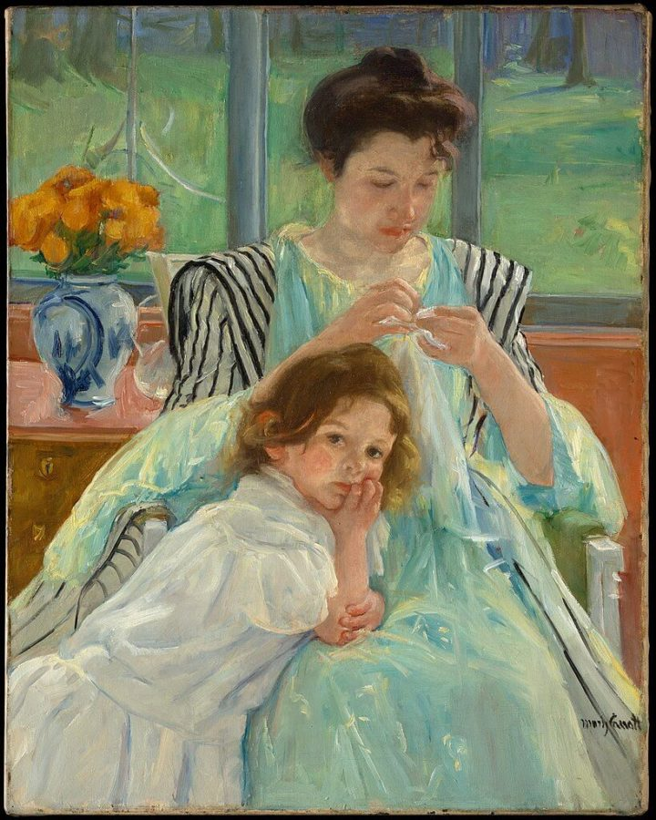 a new hobby sewing. Mary Cassatt, Young Mother Sewing,