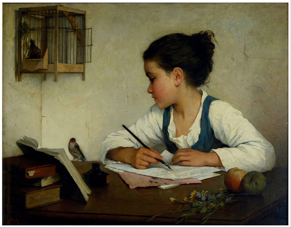 write a poem, Henriette Browne, A Girl Writing/The Pet Goldfinch