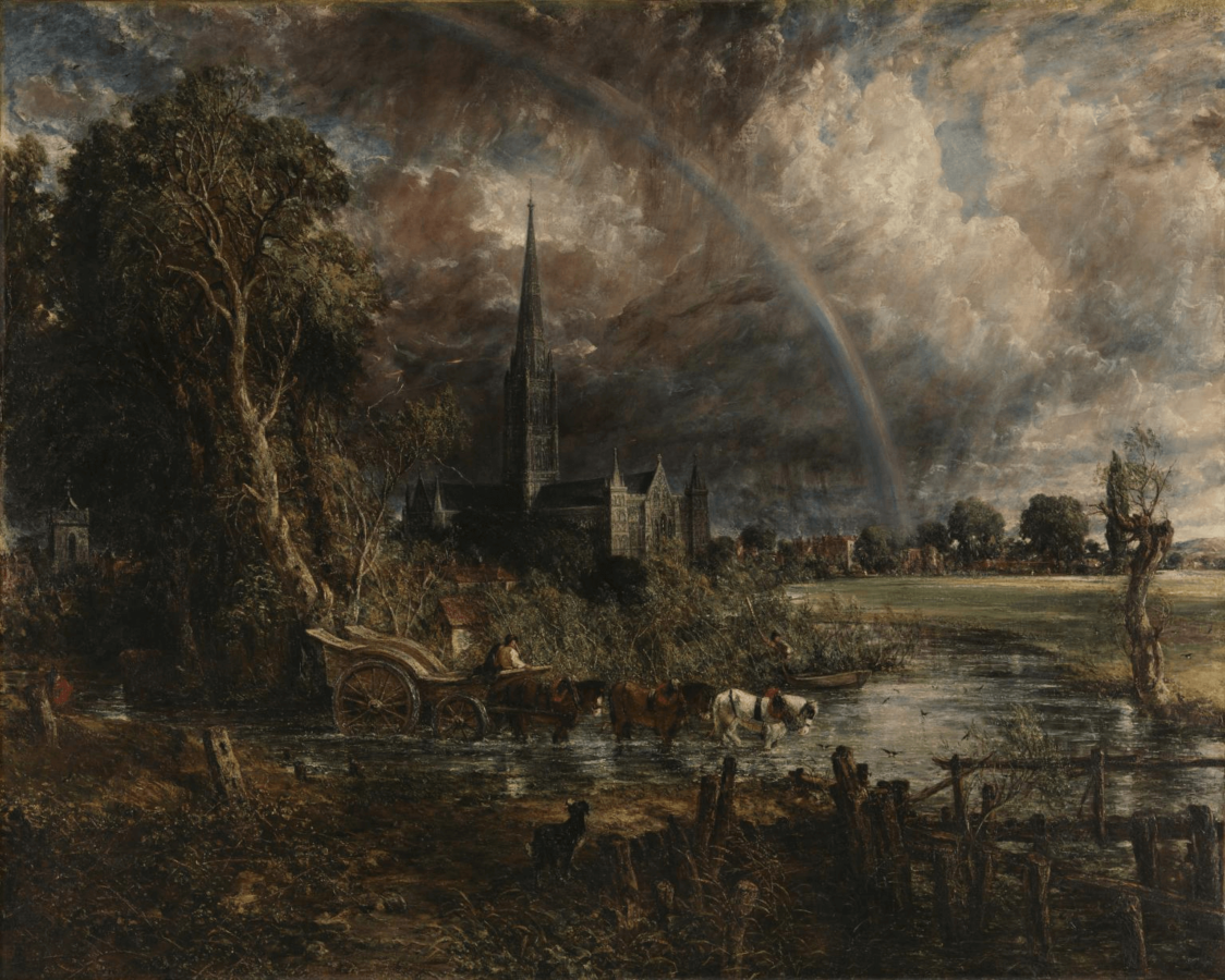 John Constable, Salisbury Cathedral from the Meadows; Rainbows in art history