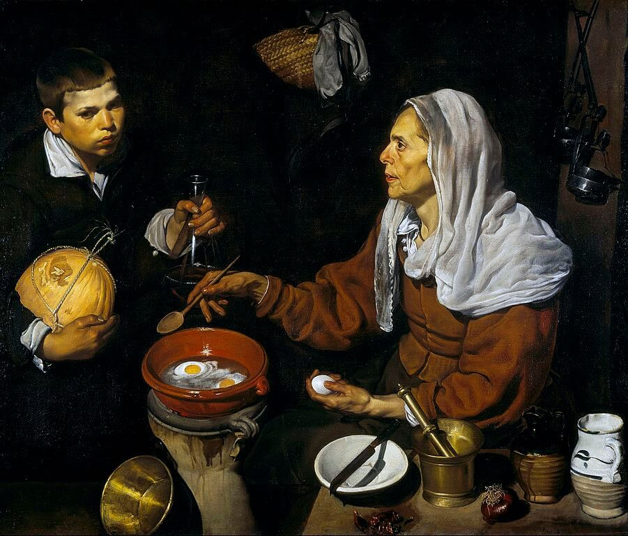 find a new recipe, Diego Velázquez, An Old Woman Cooking Eggs, 1618, Scottish National Gallery, Edinburgh,