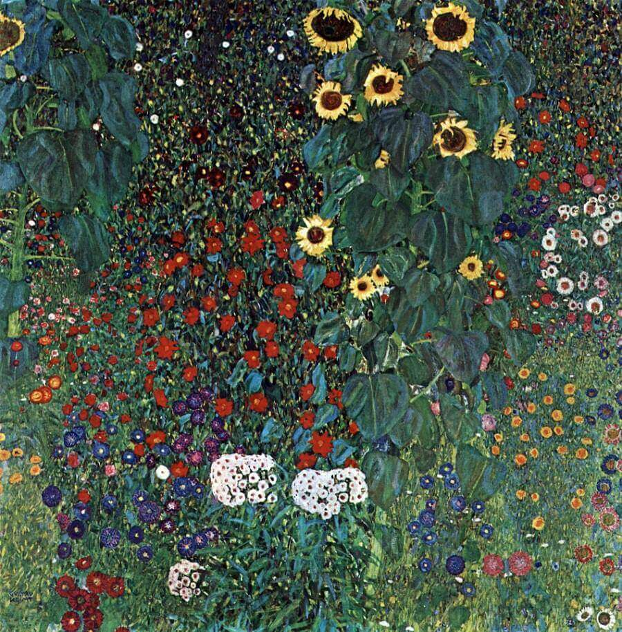 The Austrian painter adds a fine example of one of the most beauitufl gardens in art. Painted in 1906, the beauty of the sunflowers and greens of the foliage inspire joy.