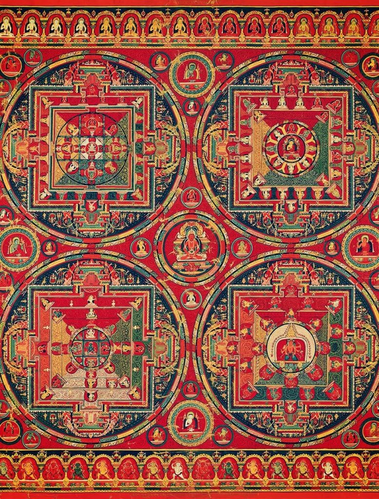 mandala with four main circles surrounded by smaller circles with deities inside