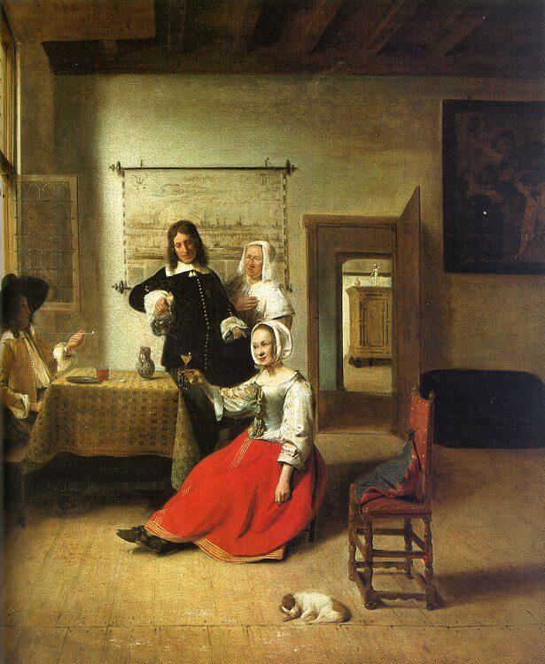 have a drink, Pieter de Hooch, Woman Drinking with Soldiers,