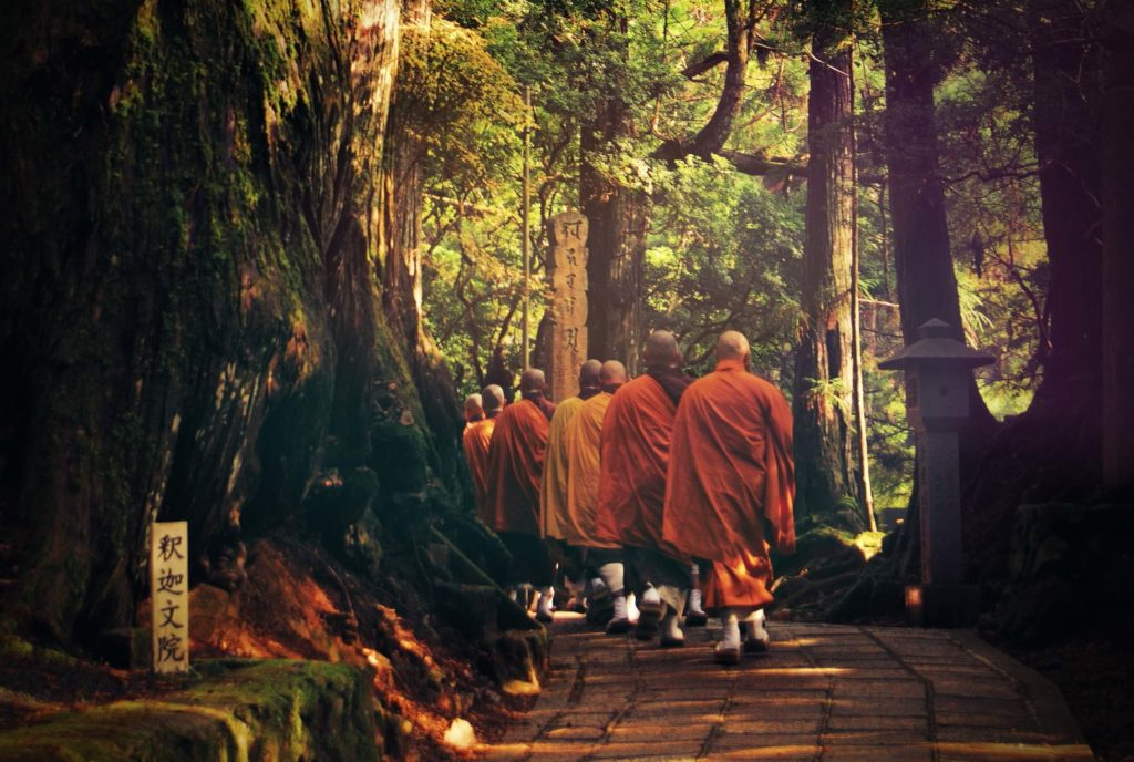 the row of monks going to the temple with the backs in the foreground