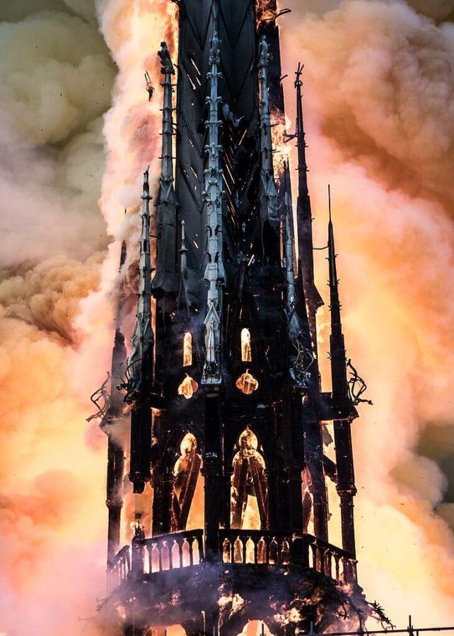 Notre-Dame de Paris spire on fire