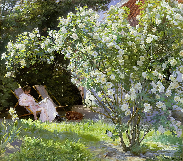 Kroyer's 1883 painting of his wife in their beautiful garden