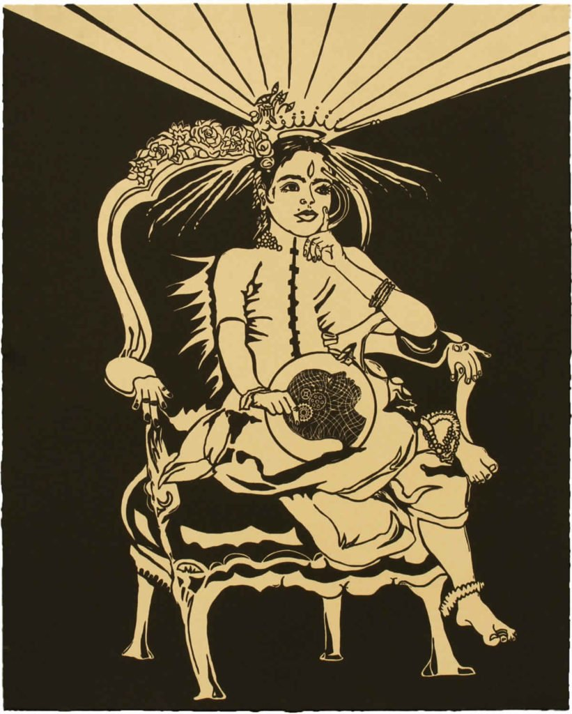 Chitra Ganesh, Sultana's Dream, 2018 Portfolio of 27 Linocuts BFK Rives Tan, 280gsm 20 1/8 x 16 1/8 inches (51.1 x 41 cm), Printed and Published by Durham Press, 2018 Courtesy chitraganesh.com; Ganesh Sultana's Dream