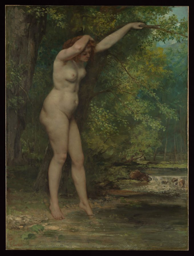 a woman outside by a tree; Courbet scandalous nudes