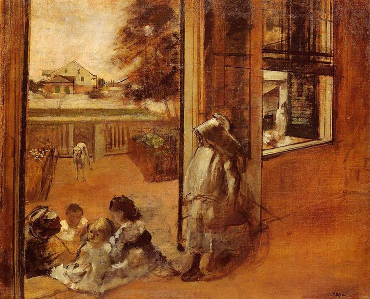 Edgar Degas's painting of his nieces and nephews in the family courtyard.