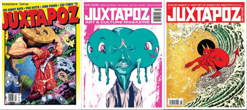 Covers of different issues of the Juxtapoz magazine, ©Juxtapoz Magazine.
