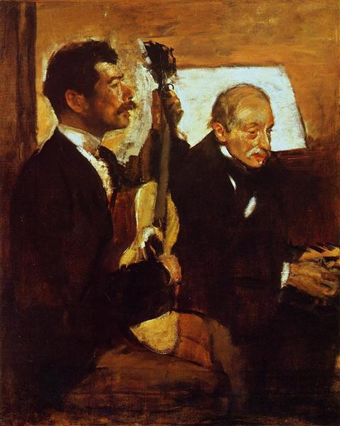 Edgar Degas's portrait of his father listening to a guitar player.