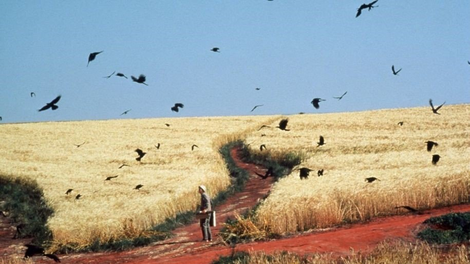 Still from Dreams directed by Akira Kurosava, depicting painter Vincent van Gogh in a wheatfield, surrounded by flying crows. Number two on the art-related films list.